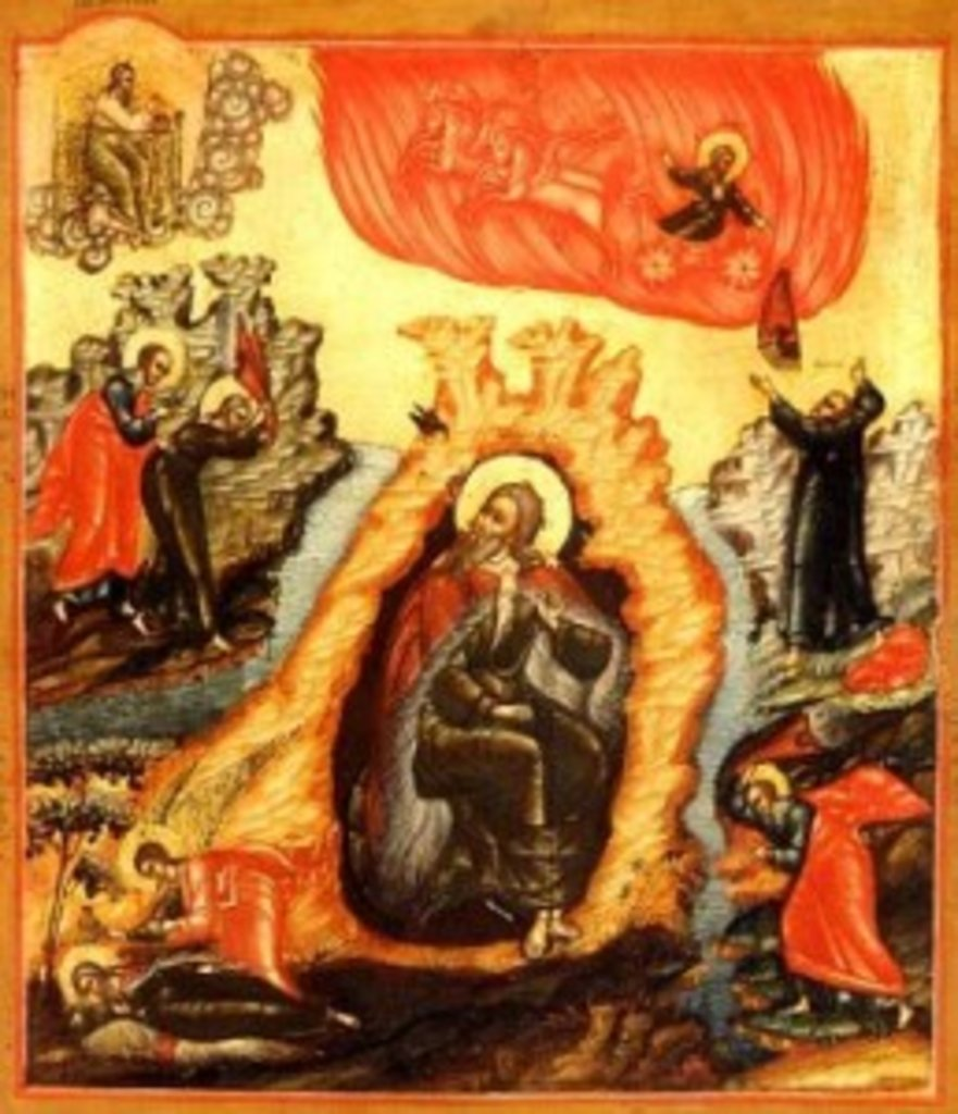 Іконописна традиція зображує пророка Ілію верхи на вогняній колесниці, що підносить його до неба